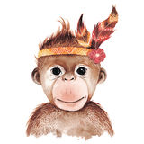 Watercolor monkey portrait. Cute boho design with feathers. Nursery prints with animals , posters and postcards stock illustration