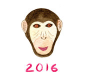 Watercolor monkey print. Happy New year card. 2016. Year of Monkey. Chimpanzee artwork vector illustration