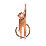 Watercolor Monkey. On white background royalty free illustration