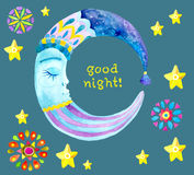 Watercolor Moon for children design Stock Photos