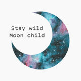 Watercolor moon silhouette. Stock Images
