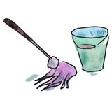 Watercolor mop bucket pink cartoon illustration Stock Images