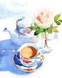 Watercolor Morning Breakfast Coffee Rose Illustration Hand Drawn Stock Images