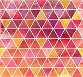 Watercolor mosaic background. Watercolor background. 2d hand drawn seamless pattern with colorful triangular mosaic. Pink ruby red yellow ornament for tiles vector illustration