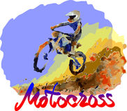 Watercolor motocross Royalty Free Stock Photo