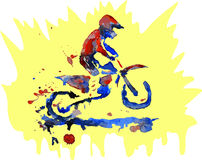 Watercolor motocross rider Royalty Free Stock Image