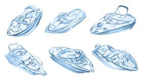Watercolor motor boats. Royalty Free Stock Image