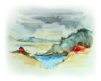 Watercolor mountain landscape Royalty Free Stock Image