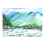 Watercolor mountain landscape with a stormy river and forest vector illustration