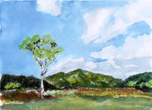 Watercolor mountain tree. On paper Royalty Free Stock Photos