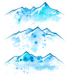 Watercolor mountains borders Stock Photo