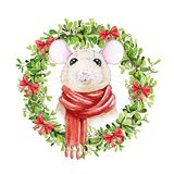 Watercolor mouse illustration in a scarf with Christmas mistletoe wreath. Cute little rat a simbol of chinese zodiac 2020 new year royalty free stock images