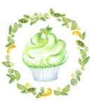 Watercolor muffin green round. Illustration of a watercolor, hand-drawn cake with cream in a frame of gooseberries, mint leaves, lemon and lime slices, in green Royalty Free Stock Photography