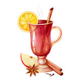 Watercolor mulled wine Royalty Free Stock Photography