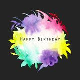 Watercolor multicolor and bright background, floral shapes paper texture, isolated on a dark background. Birthday card design Stock Photography