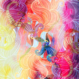Watercolor multicolored abstract wavy elements Royalty Free Stock Images