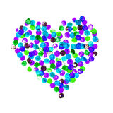 Watercolor multicolored heart of bubbles on a white background.Happy Valentine Day! Watercolor painted heart,  element for your lo Royalty Free Stock Photo