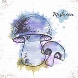 Watercolor mushroom sketch. Stock Image