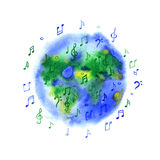 Watercolor music planet Earth. On white background Royalty Free Stock Photos