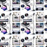 Watercolor musical devices pattern. Watercolor musical devices of 60s, 70s, 80s, 90s. Vector seamless pattern Stock Photos