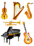Watercolor musical instruments. Set of hand painted watercolor musical instruments Royalty Free Stock Photo
