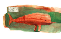 Watercolor narwhal Royalty Free Stock Images