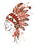 Watercolor Native American Indian chief Royalty Free Stock Images