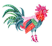 Watercolor native patterned rooster - the symbol of chinese new year. Watercolor ornate rooster isolated on white background. Native patterned rooster - the Stock Images