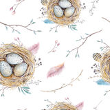 Watercolor natural floral vintage seamless pattern with nests,wr Royalty Free Stock Images