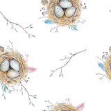 Watercolor natural floral vintage seamless pattern with nests,wr Stock Photo