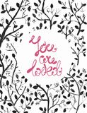 Watercolor natural illustration with dark branches and text Royalty Free Stock Photo