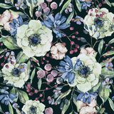Watercolor natural seamless pattern with anemone royalty free illustration