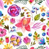 Watercolor natural seamless pattern vector illustration