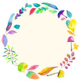Watercolor natural wreath background Royalty Free Stock Photography