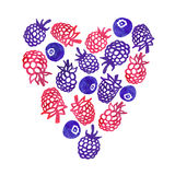 Watercolor nature berries vector heart. Perfect for invitations and other design. Stock Photo