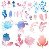 Watercolor nature clip art. Royalty Free Stock Images