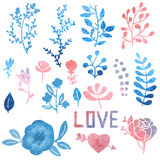 Watercolor nature clip art. Stock Images