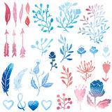 Watercolor nature clip art. Stock Image