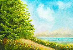 Watercolor Nature Landscape Stock Illustration - Image: 71500348