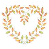 Watercolor nature love heart shaped leaf plant branch wreath frame isolated.  Stock Photo