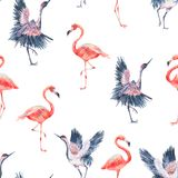 Watercolor nature seamless pattern with crane Royalty Free Stock Photo