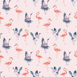 Watercolor Nature Seamless Pattern With Red Heads Crane Stock Image