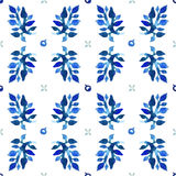 Watercolor nature seamless vector pattern (blue colors). Leaves and berries pattern. Stock Image