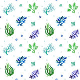 Watercolor nature seamless vector pattern (blue, light blue, green colors). Grass and plants pattern. Royalty Free Stock Image