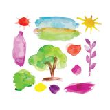 Watercolor nature set for your design Royalty Free Stock Photo