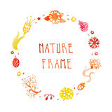 Watercolor nature vector frame with handwritten text with flowers, berries and plants (orange, red, yellow). Stock Image