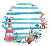 Watercolor nautical background Stock Image