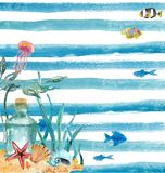 Watercolor nautical background Stock Photos