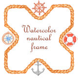 Watercolor nautical banner. Watercolor hand painted nautical banner on white background Royalty Free Stock Photo
