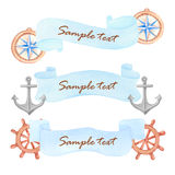 Watercolor nautical banner Stock Photo